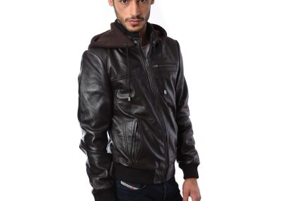 Black Leather Jacket On Model